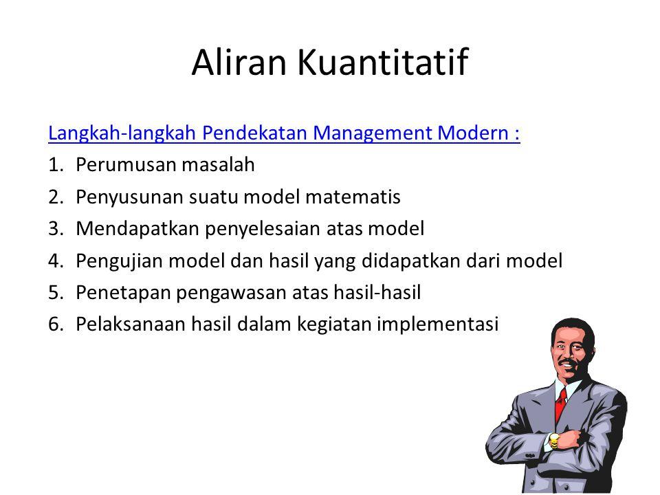Aliran Kuantitatif Langkah-langkah Pendekatan Management Modern :