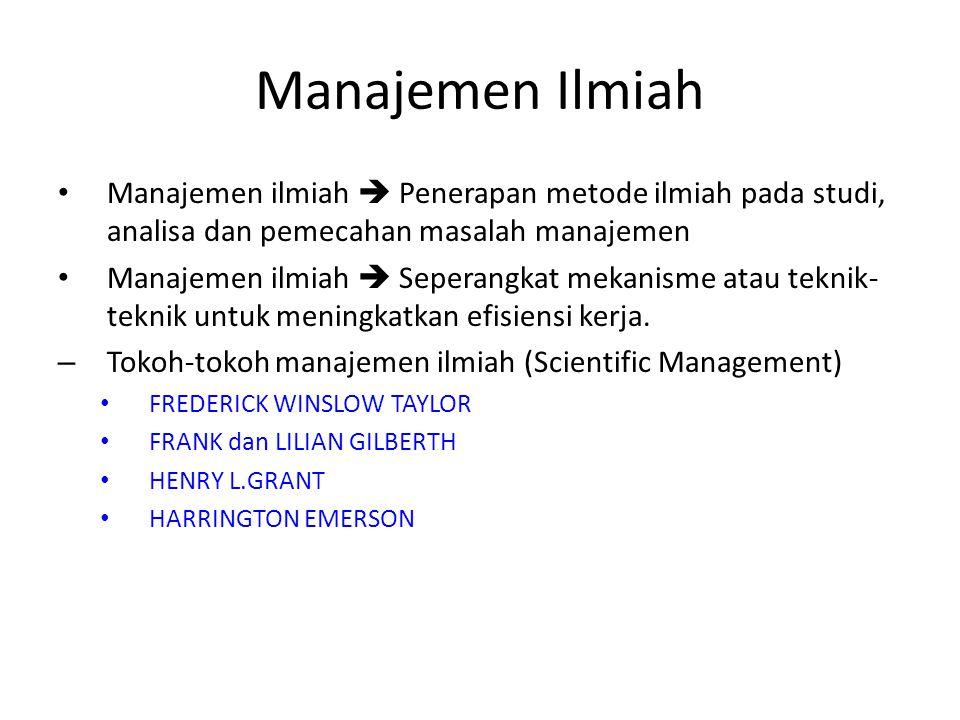 Manajemen Ilmiah Manajemen ilmiah  Penerapan metode ilmiah pada studi, analisa dan pemecahan masalah manajemen.