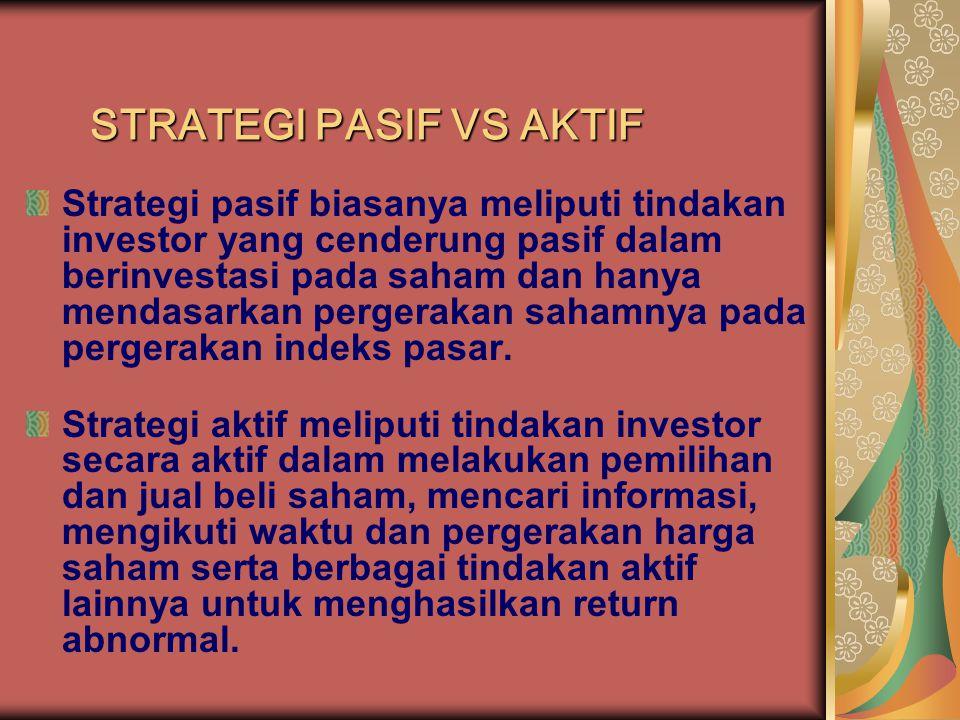STRATEGI PASIF VS AKTIF
