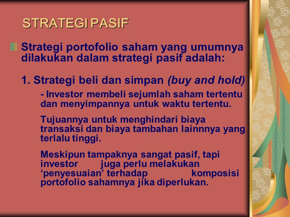 STRATEGI PASIF Strategi portofolio saham yang umumnya dilakukan dalam strategi pasif adalah: 1. Strategi beli dan simpan (buy and hold)