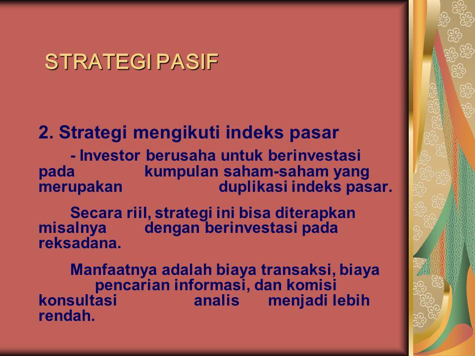 STRATEGI PASIF 2. Strategi mengikuti indeks pasar