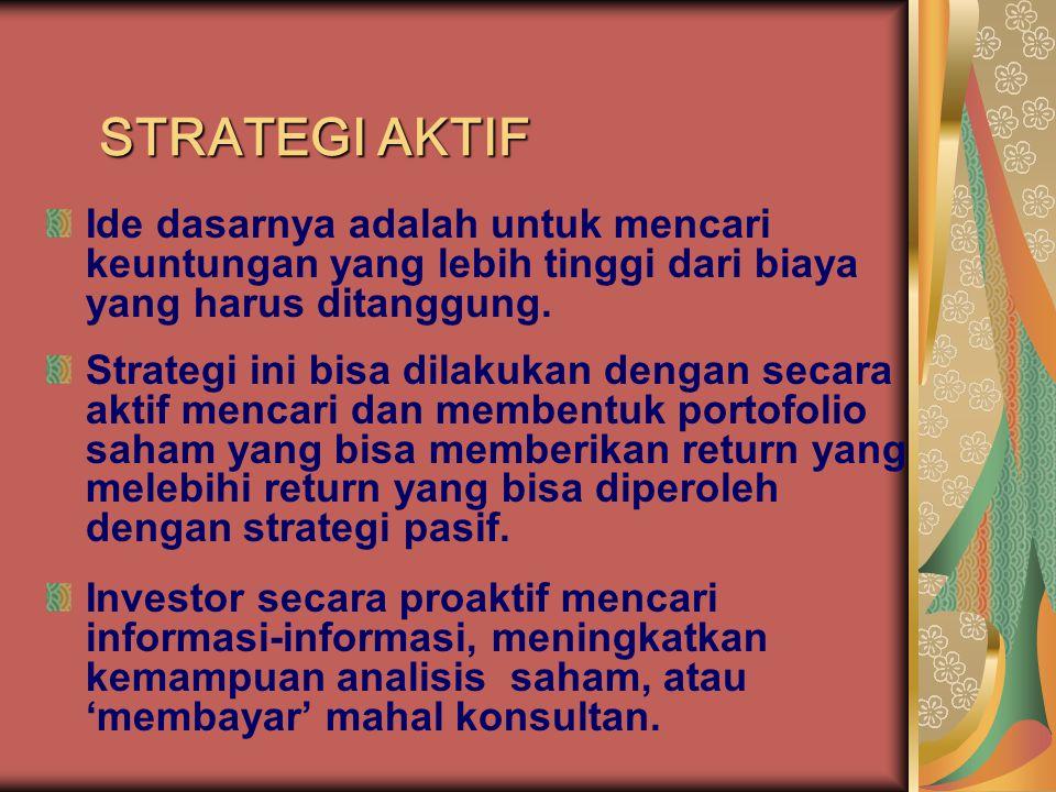 STRATEGI AKTIF Ide dasarnya adalah untuk mencari keuntungan yang lebih tinggi dari biaya yang harus ditanggung.