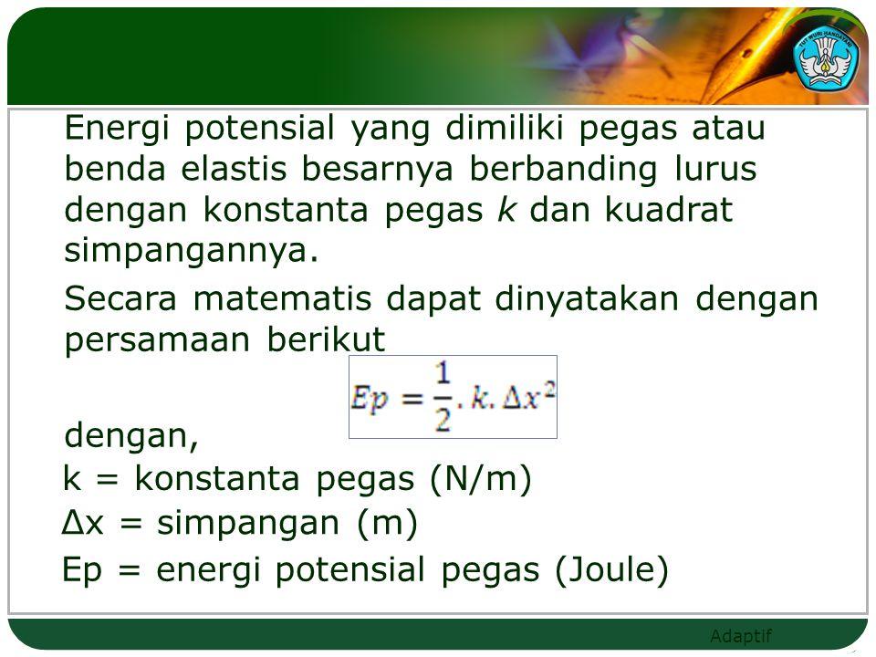 Energi potensial yang dimiliki pegas atau benda elastis besarnya berbanding lurus dengan konstanta pegas k dan kuadrat simpangannya.