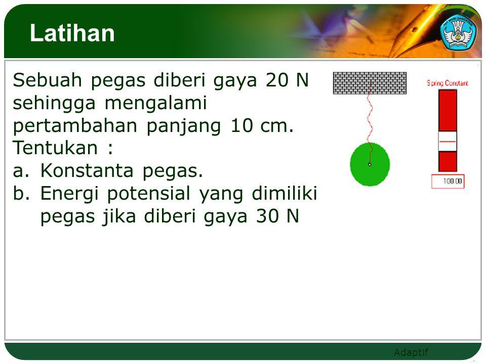 Latihan Sebuah pegas diberi gaya 20 N sehingga mengalami pertambahan panjang 10 cm. Tentukan : Konstanta pegas.
