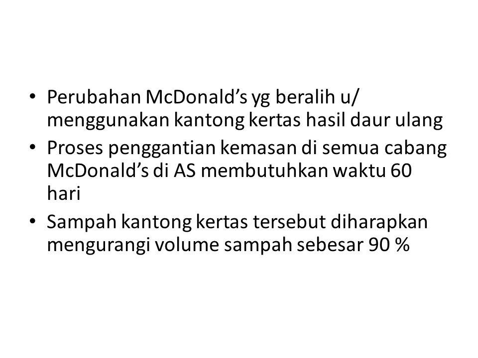 Perubahan McDonald's yg beralih u/ menggunakan kantong kertas hasil daur ulang