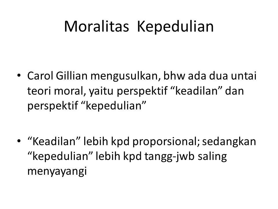 Moralitas Kepedulian Carol Gillian mengusulkan, bhw ada dua untai teori moral, yaitu perspektif keadilan dan perspektif kepedulian