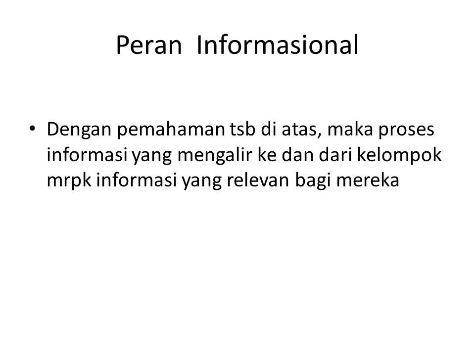 Peran Informasional Dengan pemahaman tsb di atas, maka proses informasi yang mengalir ke dan dari kelompok mrpk informasi yang relevan bagi mereka.