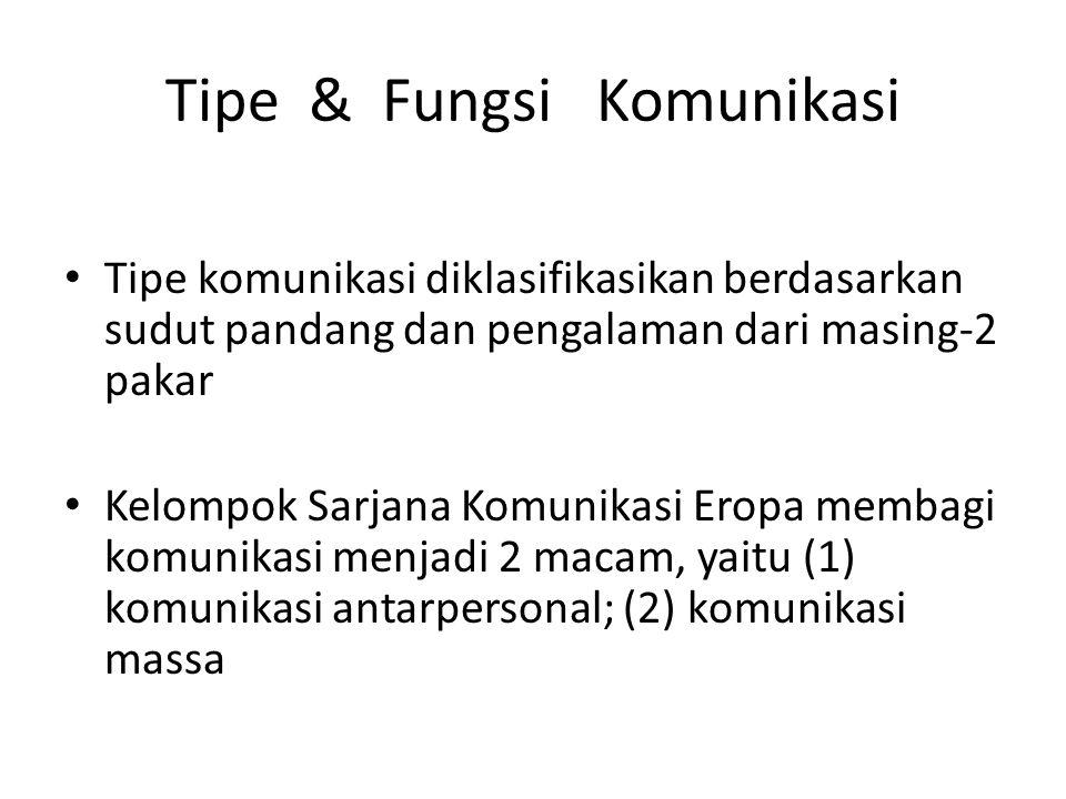 Tipe & Fungsi Komunikasi