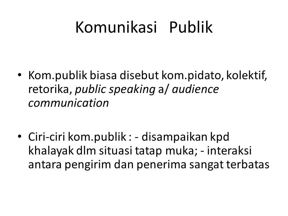 Komunikasi Publik Kom.publik biasa disebut kom.pidato, kolektif, retorika, public speaking a/ audience communication.