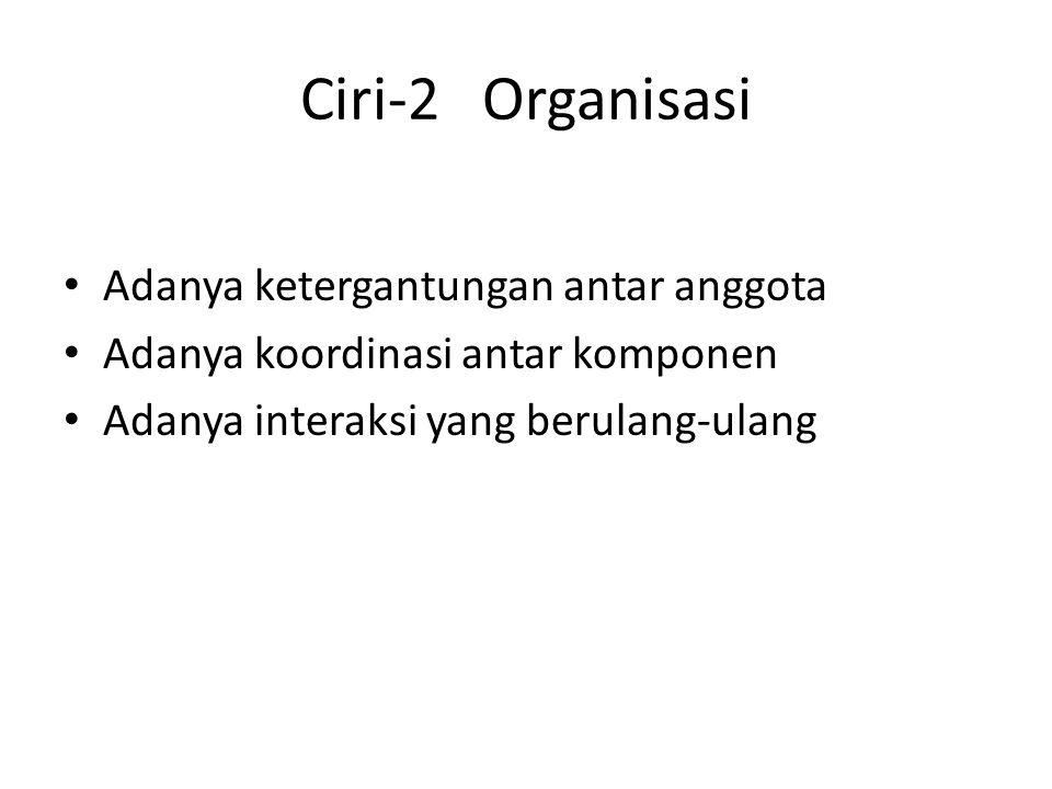 Ciri-2 Organisasi Adanya ketergantungan antar anggota
