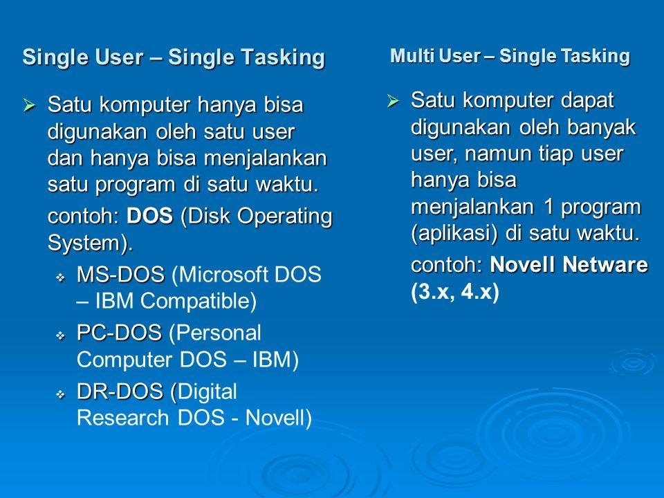 Single User – Single Tasking