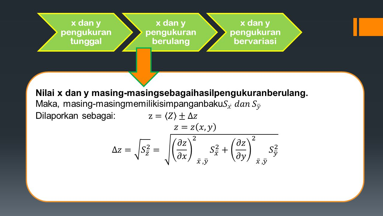 Nilai x dan y masing-masingsebagaihasilpengukuranberulang.