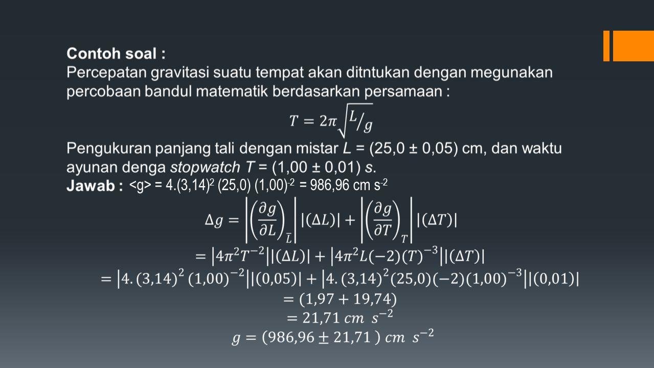 <g> = 4.(3,14)2 (25,0) (1,00)-2 = 986,96 cm s-2