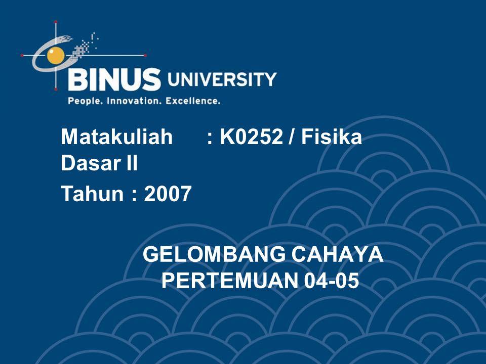 GELOMBANG CAHAYA PERTEMUAN 04-05