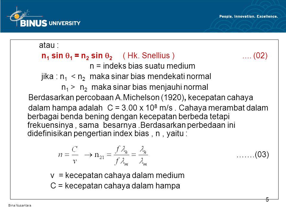 n1 sin 1 = n2 sin 2 ( Hk. Snellius ) .... (02)