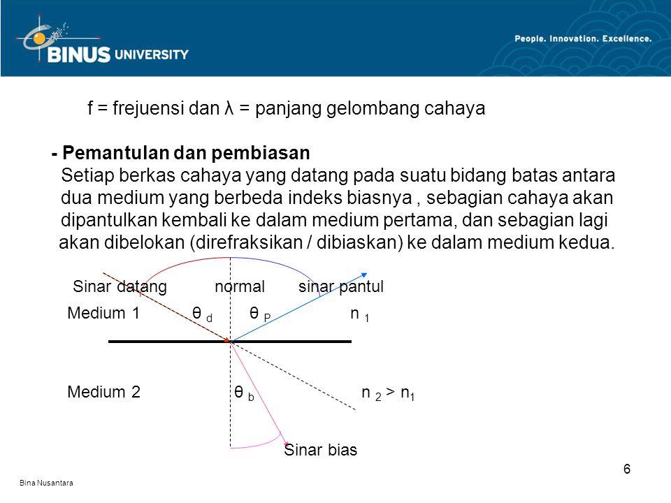 f = frejuensi dan λ = panjang gelombang cahaya