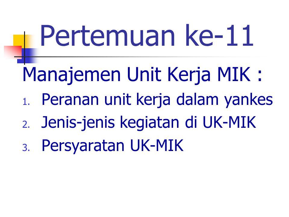 Pertemuan ke-11 Manajemen Unit Kerja MIK :