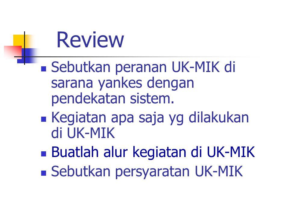 Review Sebutkan peranan UK-MIK di sarana yankes dengan pendekatan sistem. Kegiatan apa saja yg dilakukan di UK-MIK.