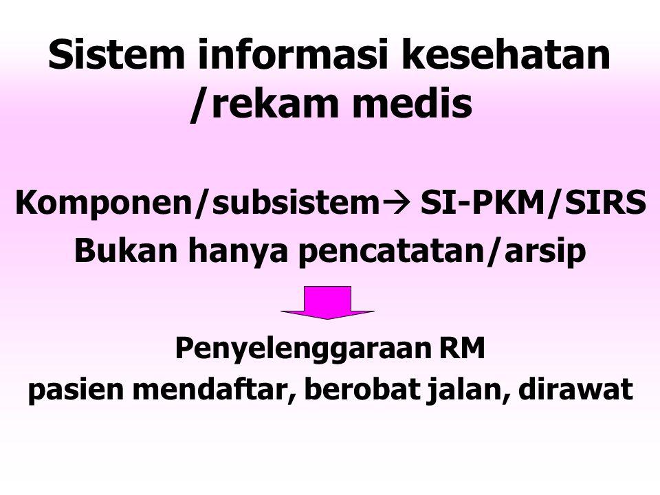 Sistem informasi kesehatan /rekam medis