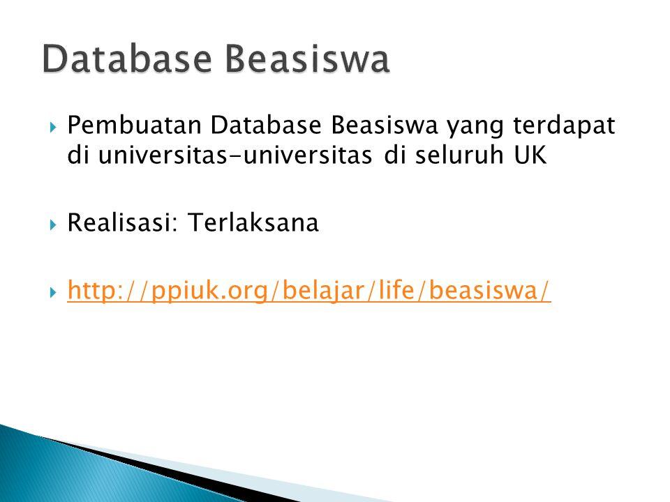 Database Beasiswa Pembuatan Database Beasiswa yang terdapat di universitas-universitas di seluruh UK.