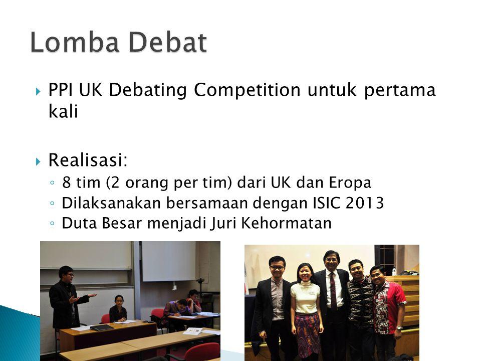 Lomba Debat PPI UK Debating Competition untuk pertama kali Realisasi: