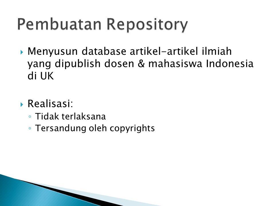Pembuatan Repository Menyusun database artikel-artikel ilmiah yang dipublish dosen & mahasiswa Indonesia di UK.