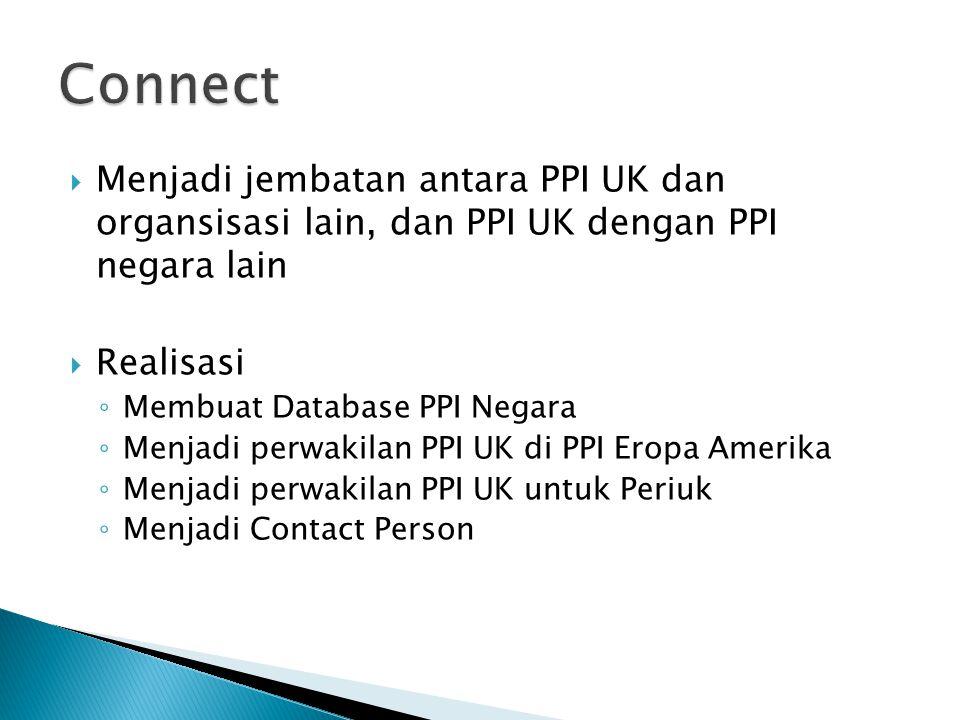 Connect Menjadi jembatan antara PPI UK dan organsisasi lain, dan PPI UK dengan PPI negara lain. Realisasi.