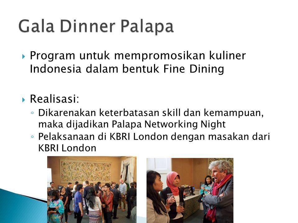 Gala Dinner Palapa Program untuk mempromosikan kuliner Indonesia dalam bentuk Fine Dining. Realisasi:
