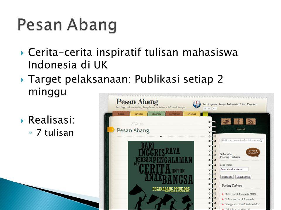Pesan Abang Cerita-cerita inspiratif tulisan mahasiswa Indonesia di UK