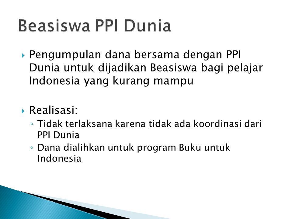 Beasiswa PPI Dunia Pengumpulan dana bersama dengan PPI Dunia untuk dijadikan Beasiswa bagi pelajar Indonesia yang kurang mampu.