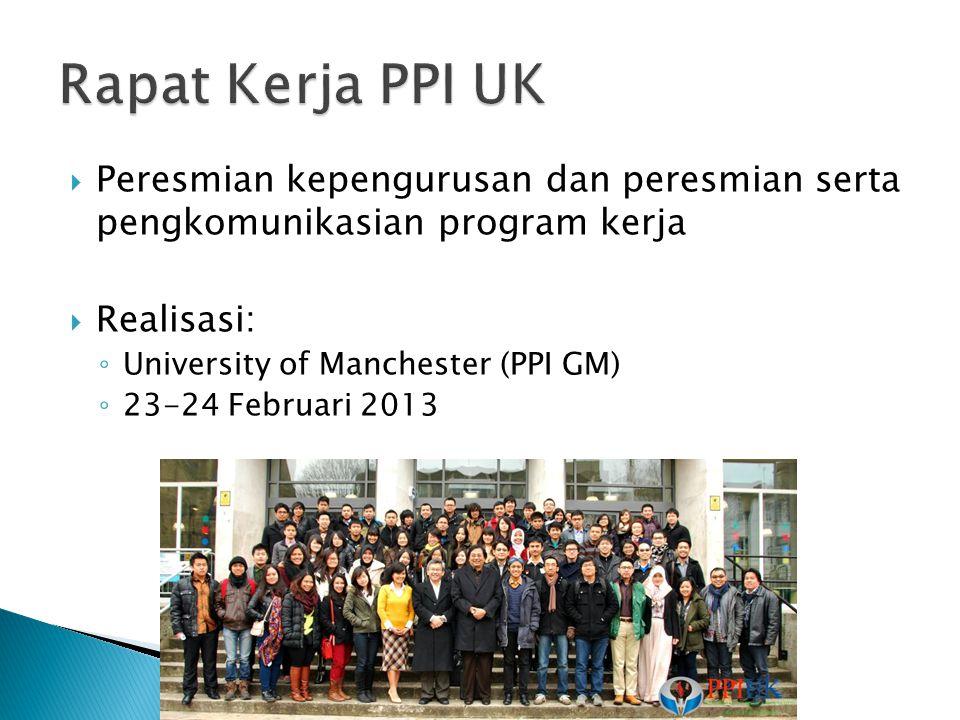 Rapat Kerja PPI UK Peresmian kepengurusan dan peresmian serta pengkomunikasian program kerja. Realisasi:
