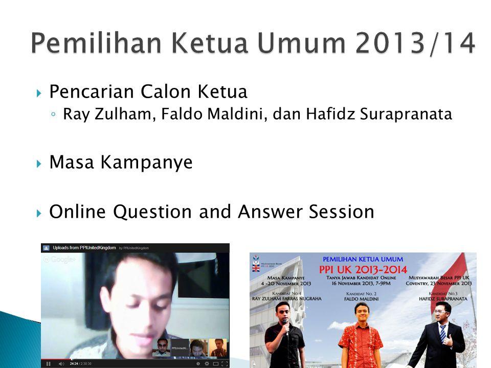 Pemilihan Ketua Umum 2013/14 Pencarian Calon Ketua Masa Kampanye