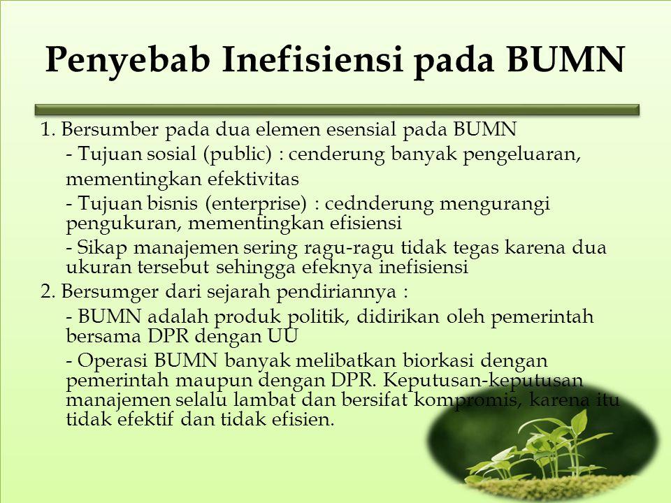 Penyebab Inefisiensi pada BUMN