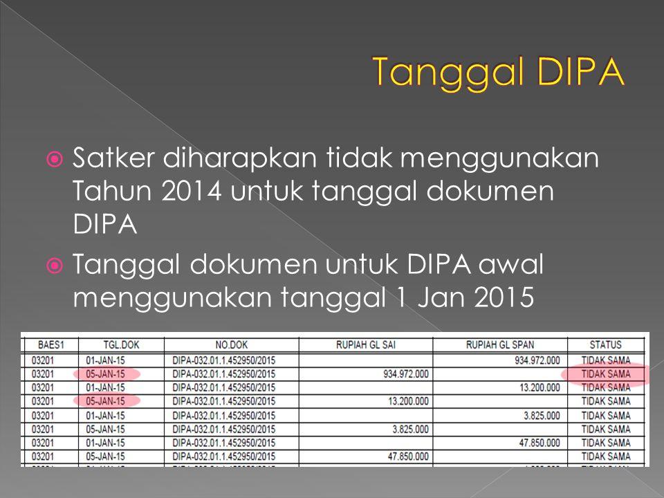 Tanggal DIPA Satker diharapkan tidak menggunakan Tahun 2014 untuk tanggal dokumen DIPA.