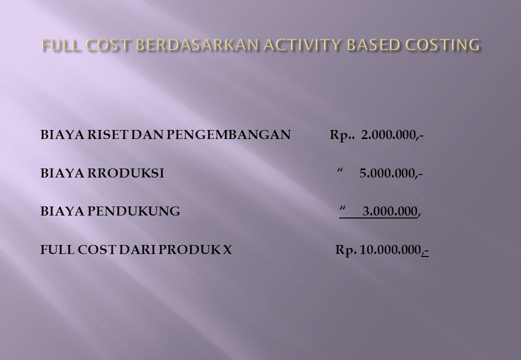FULL COST BERDASARKAN ACTIVITY BASED COSTING