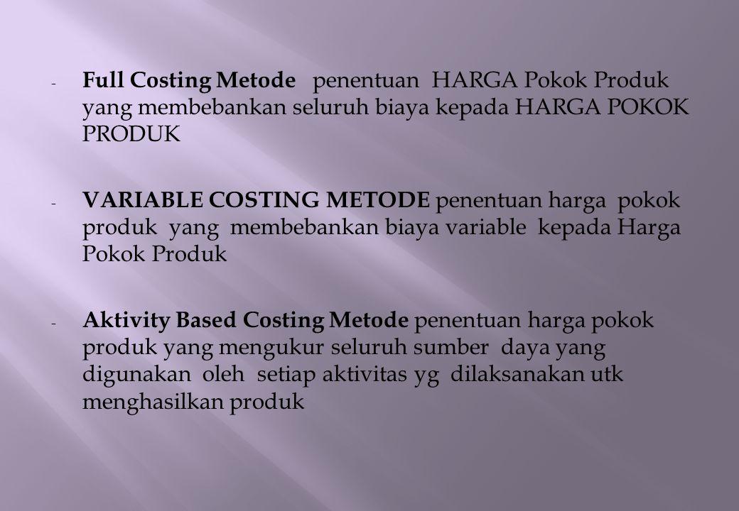 Full Costing Metode penentuan HARGA Pokok Produk yang membebankan seluruh biaya kepada HARGA POKOK PRODUK