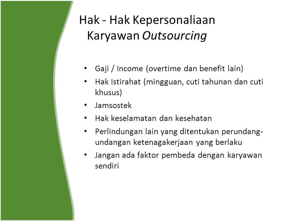 Hak - Hak Kepersonaliaan Karyawan Outsourcing