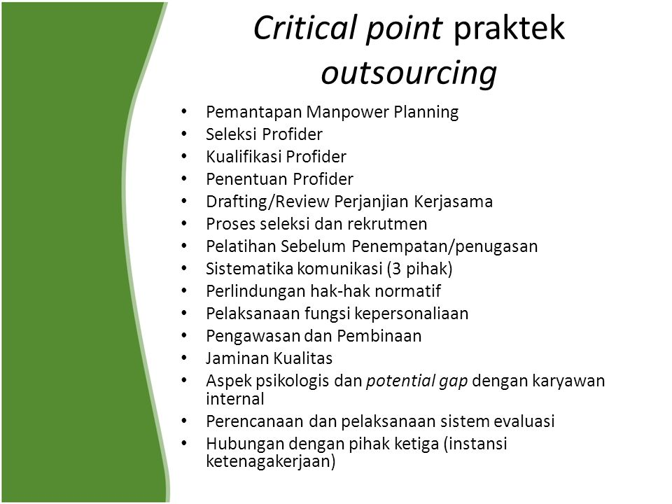 Critical point praktek outsourcing