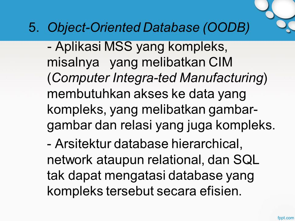 5. Object-Oriented Database (OODB)
