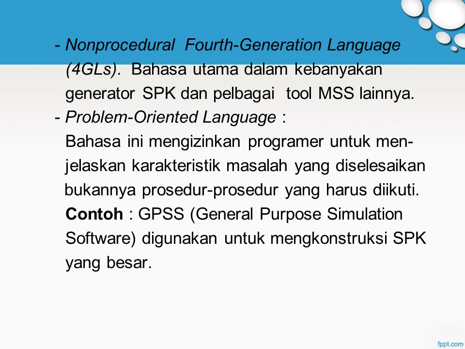 - Nonprocedural Fourth-Generation Language