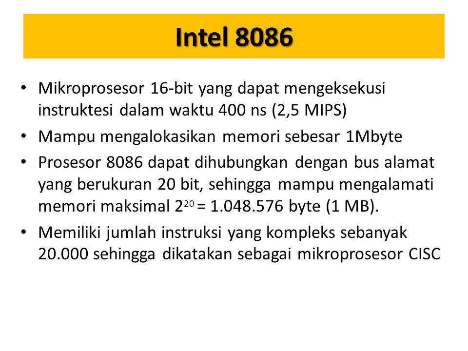 Intel 8086 Mikroprosesor 16-bit yang dapat mengeksekusi instruktesi dalam waktu 400 ns (2,5 MIPS) Mampu mengalokasikan memori sebesar 1Mbyte.