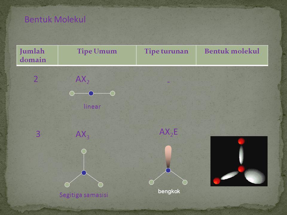 Bentuk Molekul 2 AX2 - AX2E 3 AX3 Jumlah domain Tipe Umum Tipe turunan