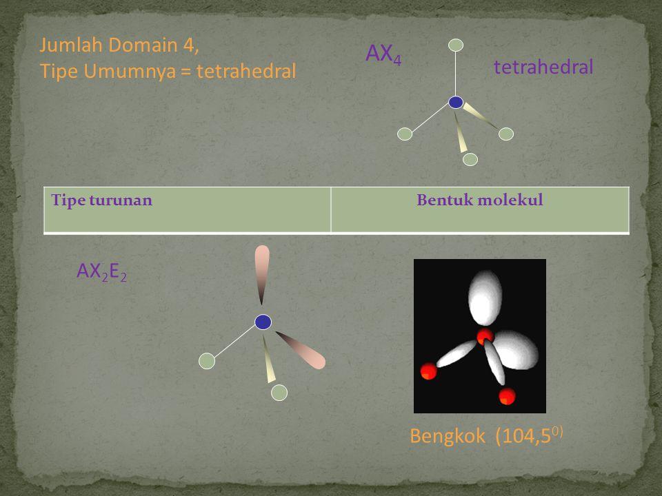 AX4 Jumlah Domain 4, Tipe Umumnya = tetrahedral tetrahedral AX2E2