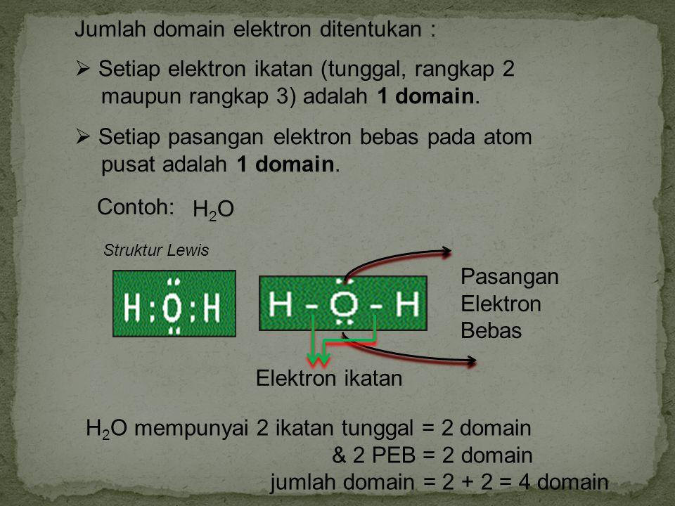 Jumlah domain elektron ditentukan :