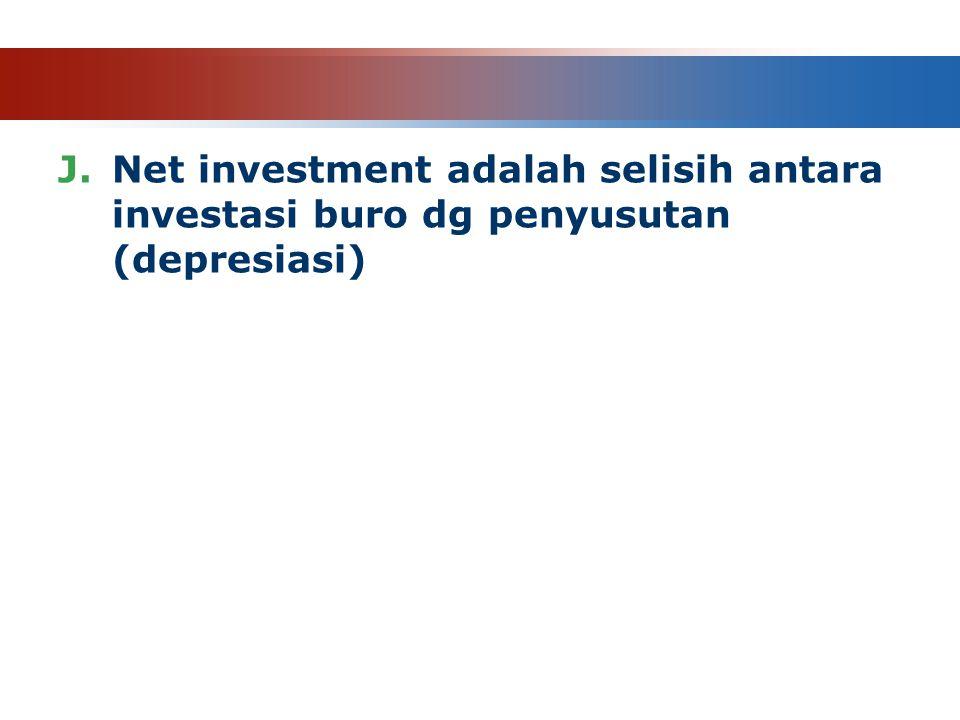 Net investment adalah selisih antara investasi buro dg penyusutan (depresiasi)