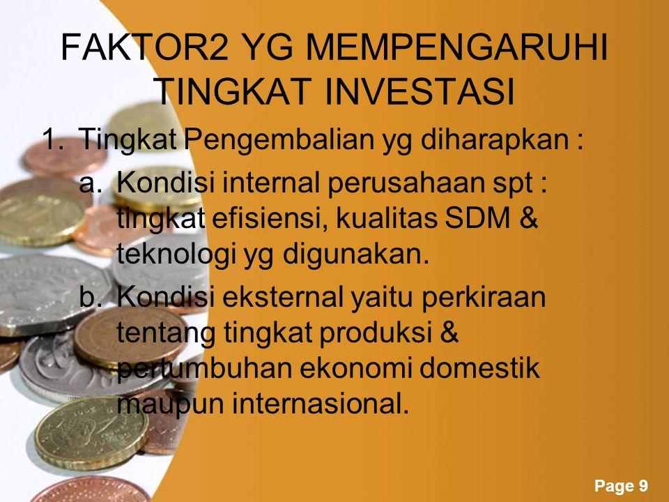FAKTOR2 YG MEMPENGARUHI TINGKAT INVESTASI