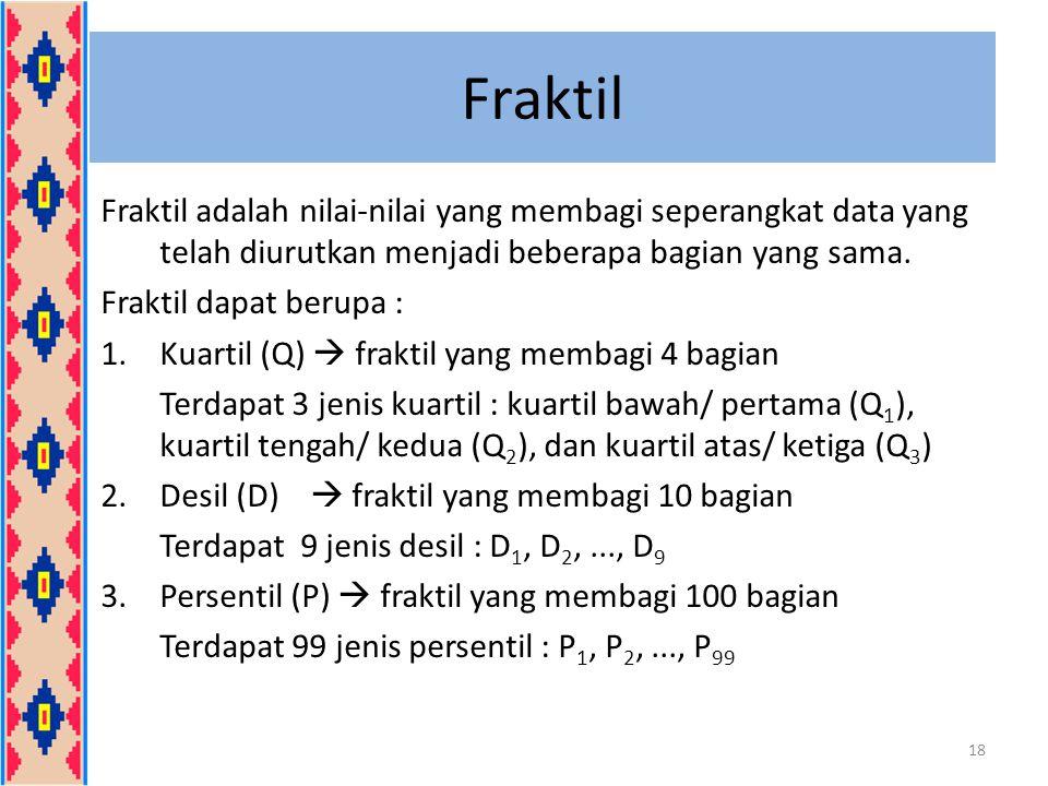 Fraktil Fraktil adalah nilai-nilai yang membagi seperangkat data yang telah diurutkan menjadi beberapa bagian yang sama.