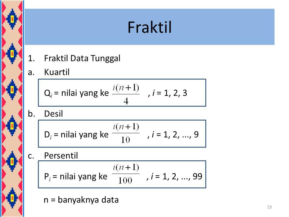 Fraktil Fraktil Data Tunggal Kuartil Qi = nilai yang ke , i = 1, 2, 3