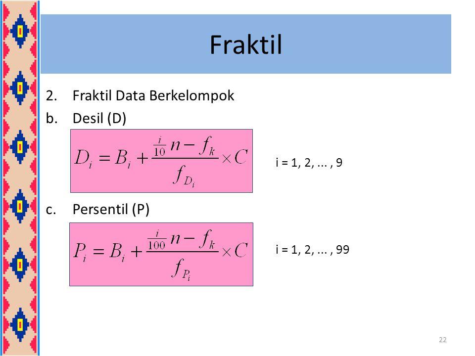 Fraktil Fraktil Data Berkelompok Desil (D) Persentil (P)
