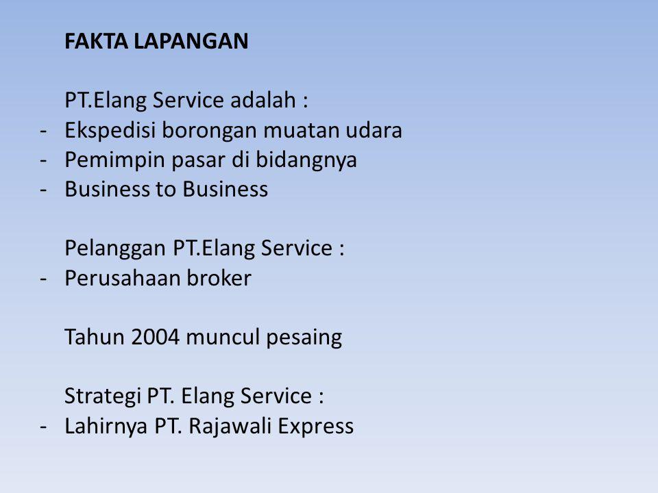 FAKTA LAPANGAN PT.Elang Service adalah : Ekspedisi borongan muatan udara. Pemimpin pasar di bidangnya.
